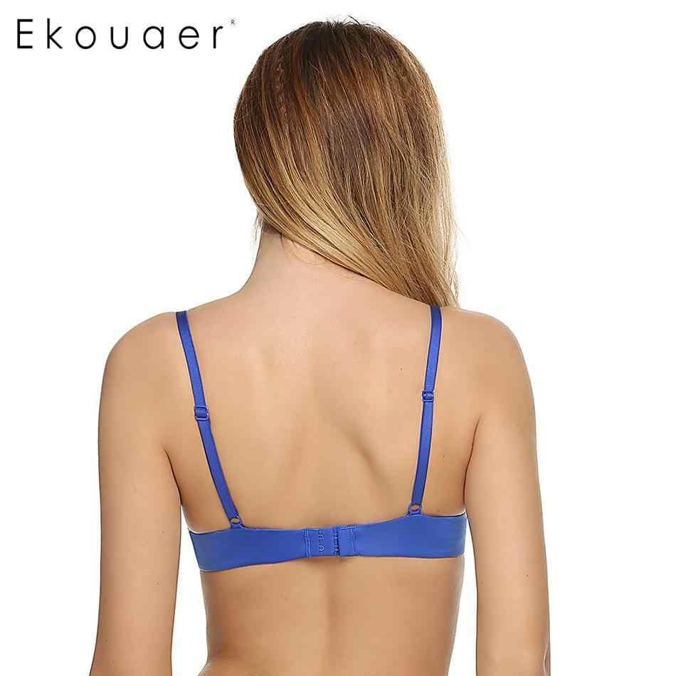 Ekouaer Push Up Bras สำหรับผู้หญิง Underwire PLUS ขนาด Bra หน่วยความจำโฟมแข็ง 3/4 ถ้วย Brassiere A B C D E ถ้วย