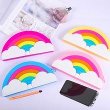 Creativity Rainbow More Function Big Capacity Pencil Case Student Change Bag Mobile Phone Makeup Bag Waterproof Silicone Pencil