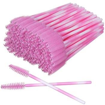 50 adet kirpik fırçalar aplikatör mikro maskara fırçaları renkli kirpik uzatma tek kullanımlık kaş fırçası makyaj fırçalar araçları