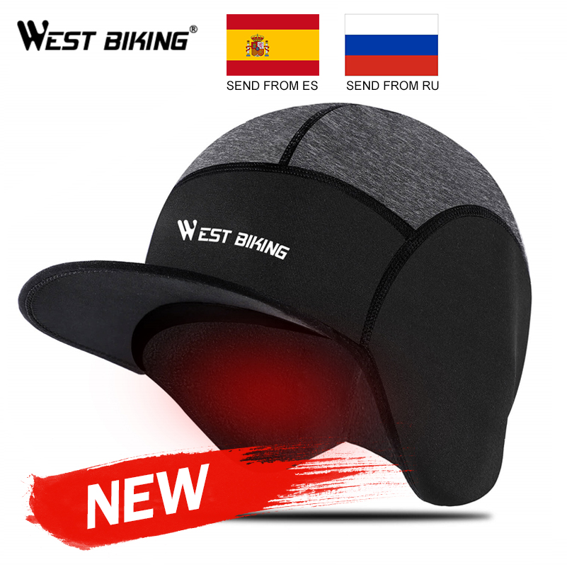 WEST BIKING Winter Cycling Cap Windproof Thermal Fleece Running Skiing Motocycle Head Hat Headwear Bandana Bike Warm Caps