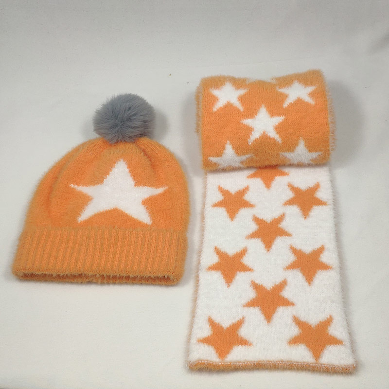 2-6years Very Soft Stars Pattern Boys Girls Scarf And Hat Sets Kids Winter Hat With Pompom Orange Yellow Grey Pink Beige