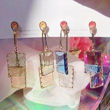 MENGJIQIAO 2020 nueva Moda joyería de vacaciones acrílico cuadrado largo Pendientes para Mujer de Moda de cristal transparente gota Pendientes de joyería