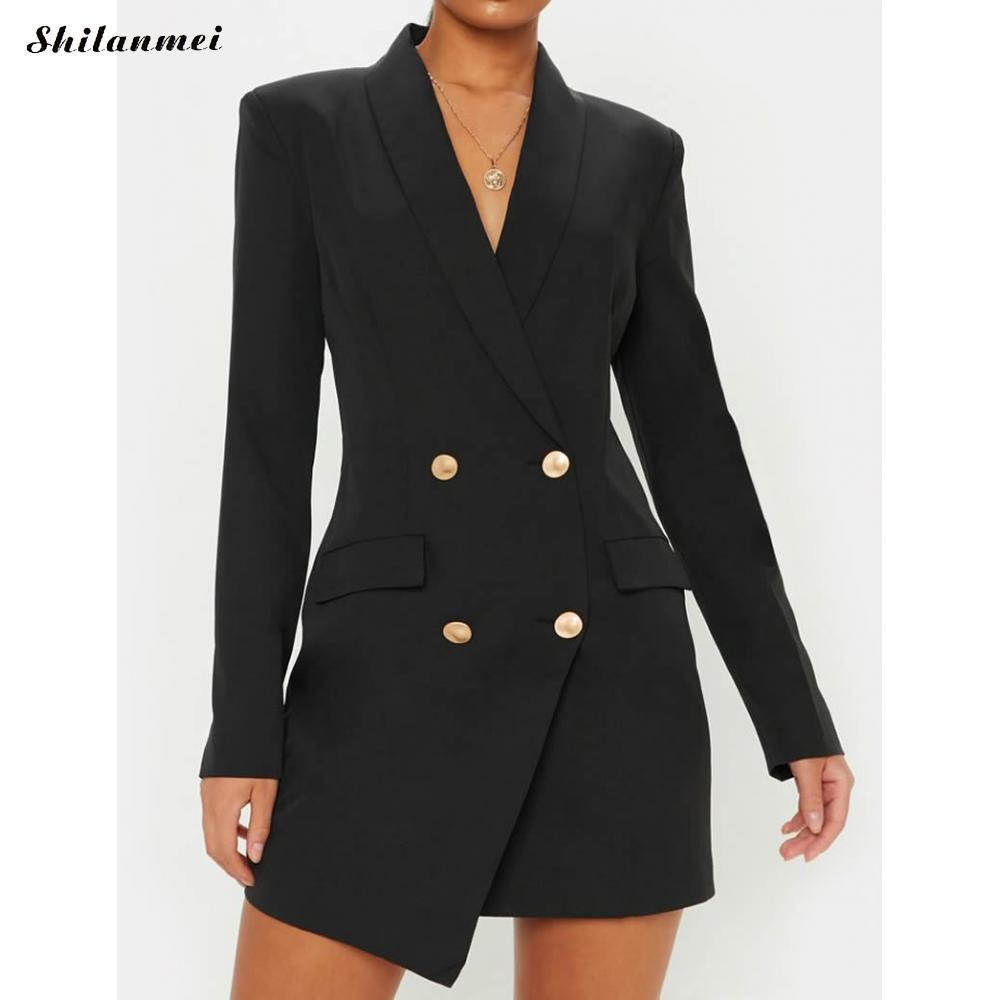 Женское платье-блейзер с длинным рукавом, офисное, Дамское, элегантное, для работы, вечерние, облегающее, Осеннее, повседневное, на пуговицах...