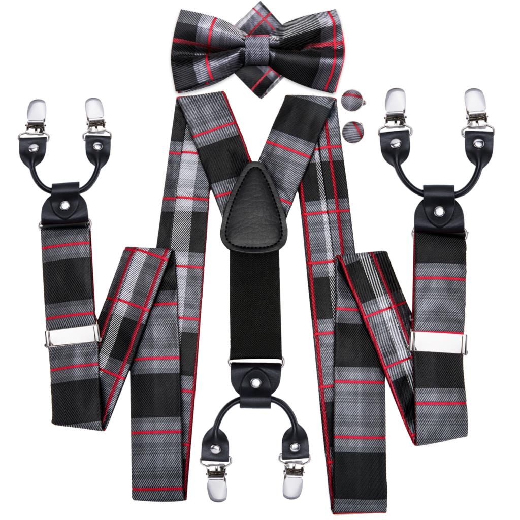 Various 6 Clips Polka Dot Suspenders /& Bowtie Pre-Tied /& Pocket Square Set Party