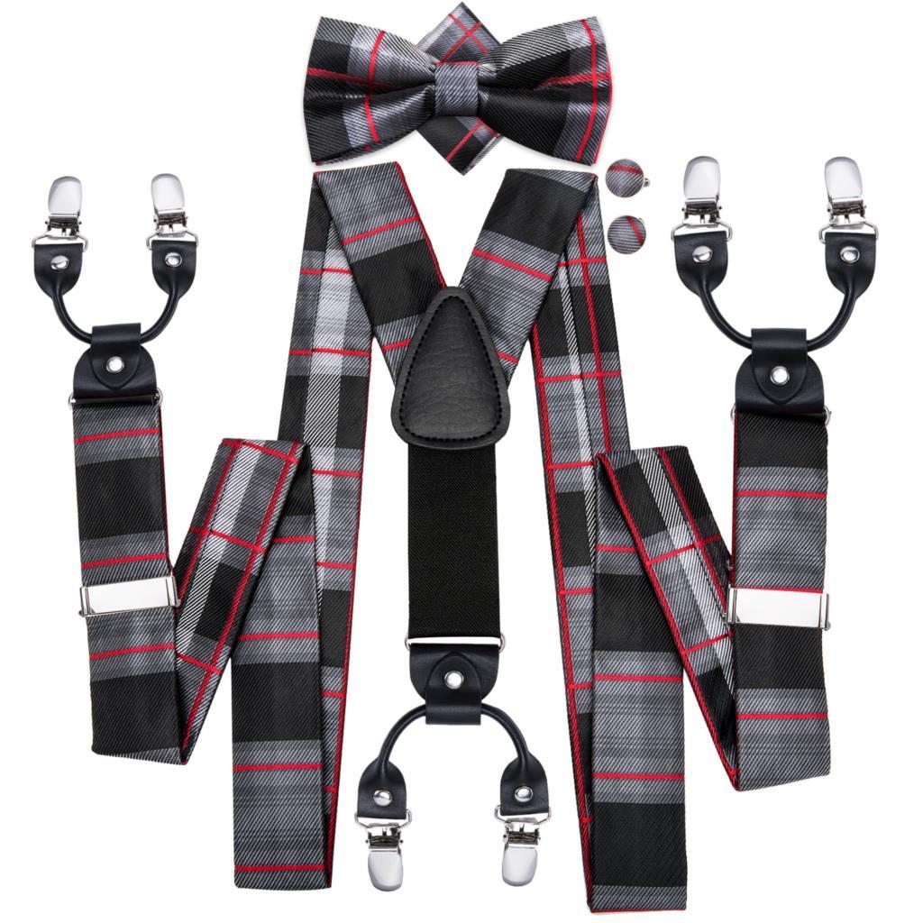 Hi-Tie Men Suspenders Plaid Fashion Wedding Various 6 Clips Party Pre-Tied Bowtie Pocket Square Set Adjustable Braces