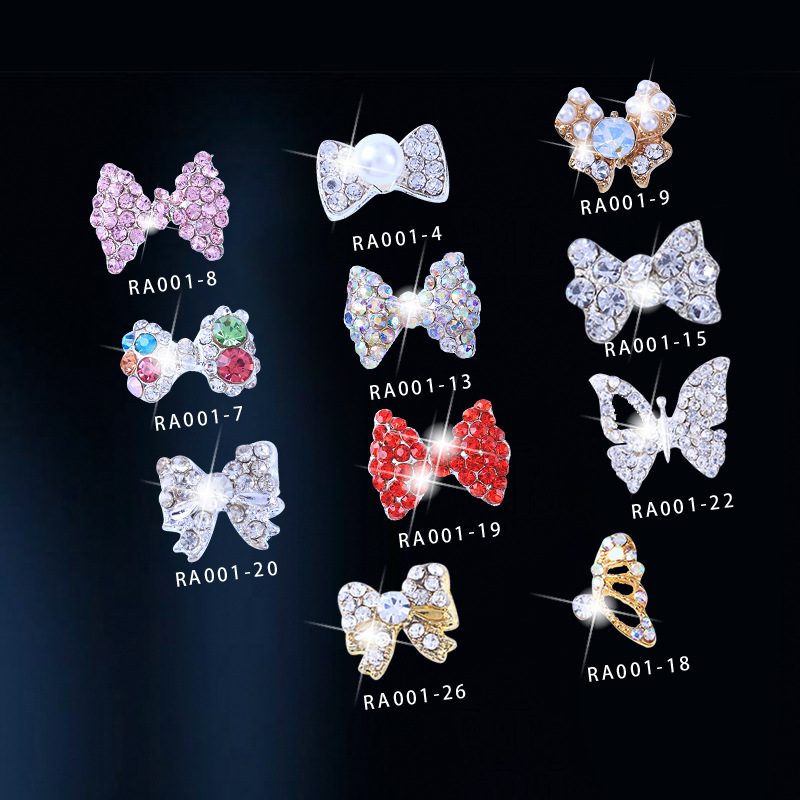 Nail Diamond AB Symphony Rhinestone Nail Ornament Man-made Diamond Bow Love Stickers Diamond Decoration New Style Nail Rhineston