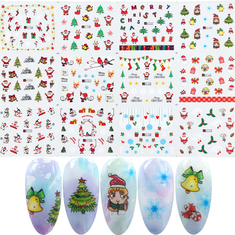 Image 3 - Xmas Cool Santa Stickers For Nails Snowflake Flowers Nail Christmas Stickers Nail Art Winter Adhesive Sliders Manicure CHBN/A 1-in Stickers & Decals from Beauty & Health