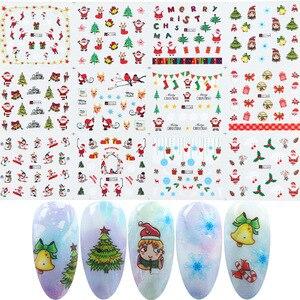 Image 3 - Xmas Cool Santa Stickers Voor Nagels Sneeuwvlok Bloemen Nail Kerst Stickers Nail Art Winter Lijm Sliders Manicure CHBN/A 1
