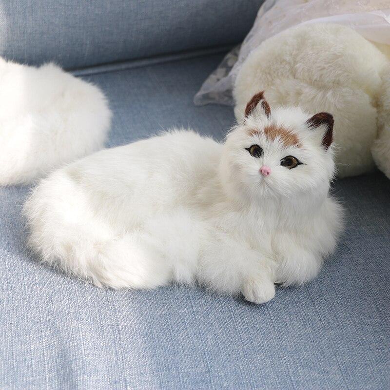 2019 Stuffed Plush Toys Lovely Simulation Stuffed Plush Cats Toys Fur Dolls Cute Plush Cat Doll Toys For Kids Home Decorations