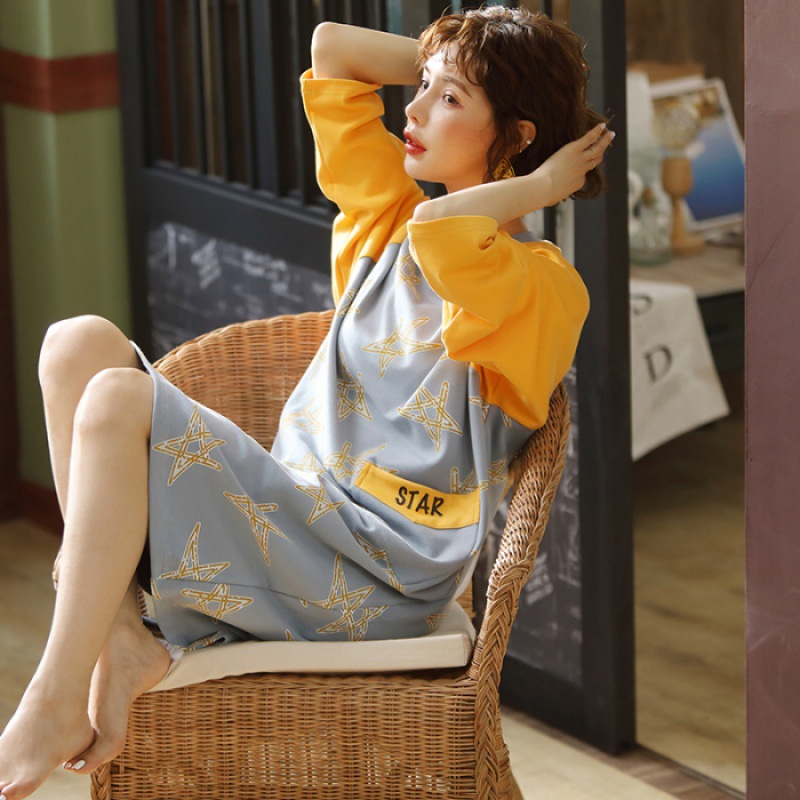 Long Sleeve Combed Cotton Loose Version Of Casual Tracksuit Nightgown-Outer Wear Pajamas Women's Autumn And Winter Warm Pregnant