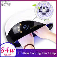 84W Led Lamp Nail Manicure 2 in 1 Built-in Cooling Fan for Two Hands 10s Fast Nail Dryer Machine Curing All Kinds of Gel CHMDone