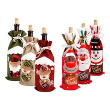 Merry Christmas Wine Bottle Cover Decorations For Home Santa Claus Stocking Holder Ornaments New Year Gift