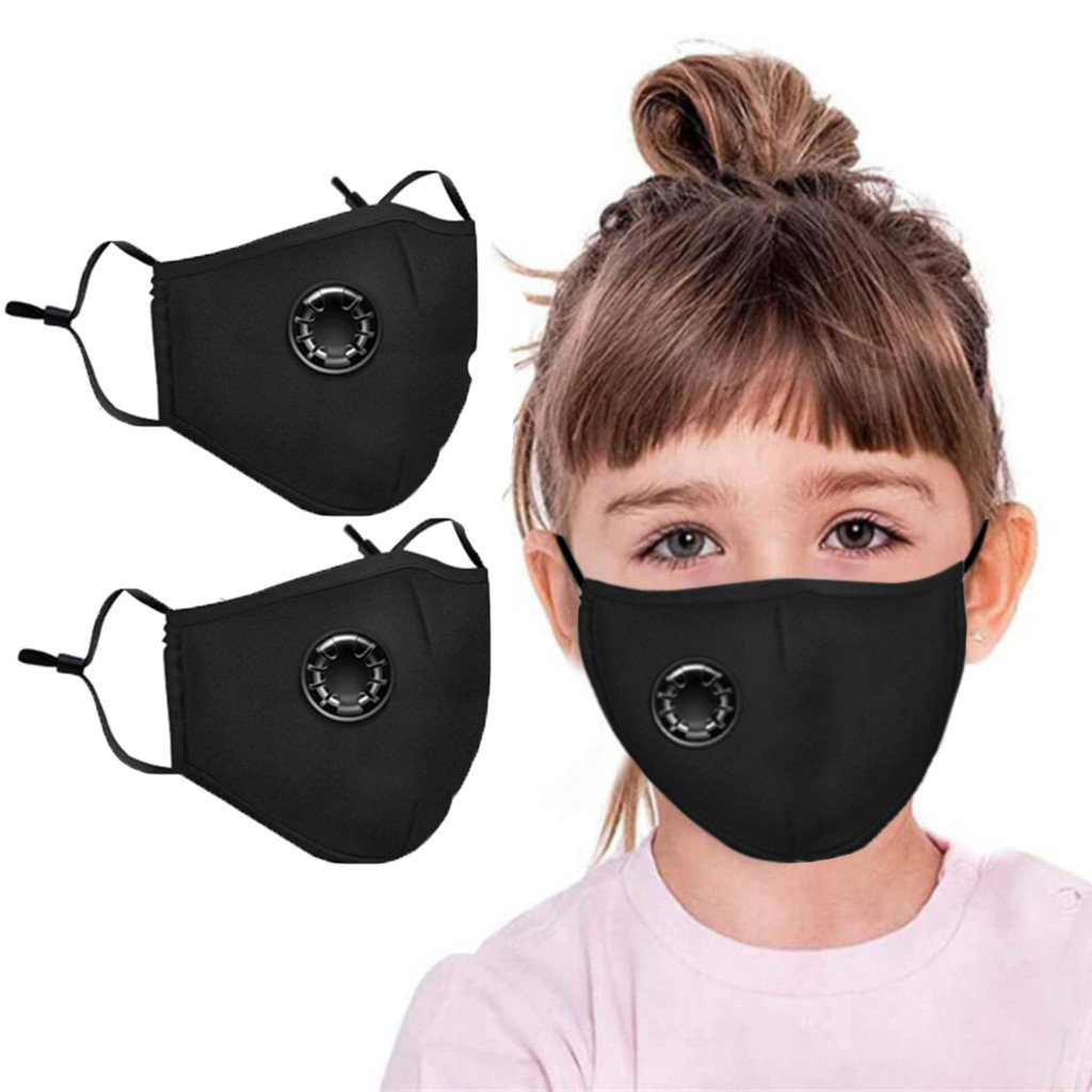 #H30 2 PCS 3-8 Years Children Cotton Breath Mouth Mask Washable Reusable Mask Filters Mouth Respirator for Kids
