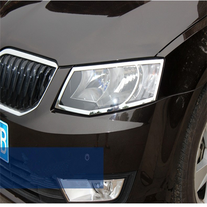 WELKINRY car cover for Skoda Octavia III 5E3 NL3 NR3 5E5 2012 2013 2014 2015 2016 2017 ABS chrome front head lamp light trim Chromium Styling Automobiles & Motorcycles - title=