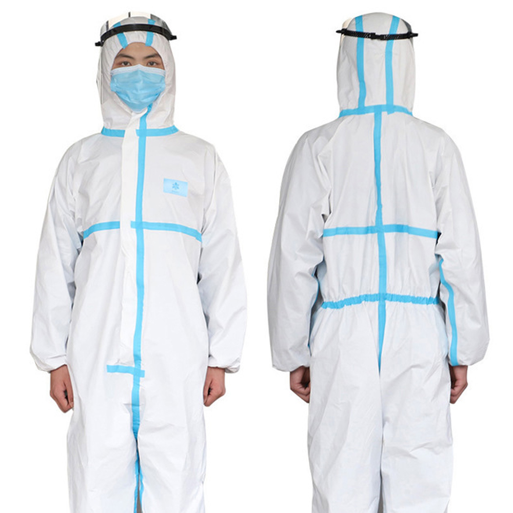 Disposable Medical Isolation Clothing Non-woven One-piece Hooded Isolation Clothing Full Body Protection Overalls Laboratory Epi