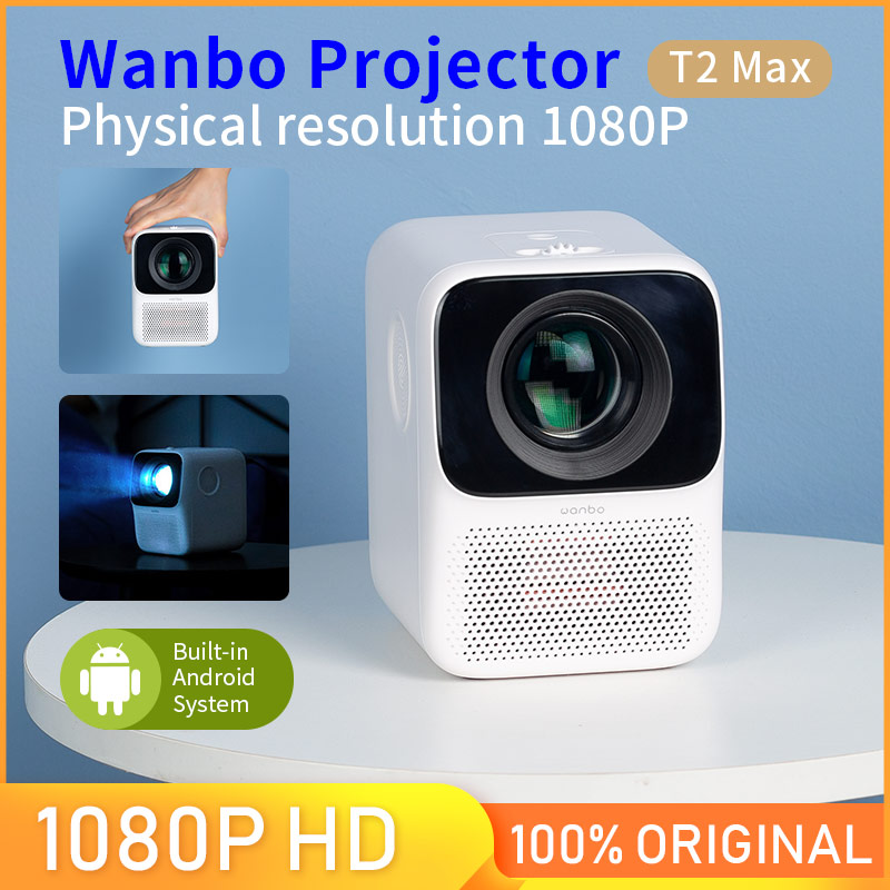 #Global Version# Wanbo T2 MAX Projector LCD LED 4K HD 1080P Vertical Keystone Correction Portable Mini Home Theater Projector