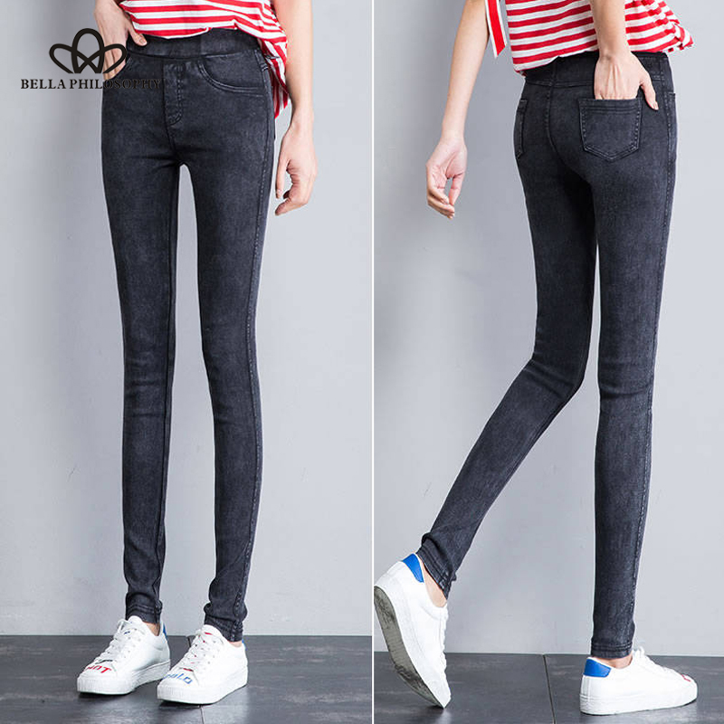 Bella Philosophy 2019 Autumn Winter Women Pencil Pants Slim Elastic Small Jeans Pants Fleece Nine Points Trousers Black Leggings 3