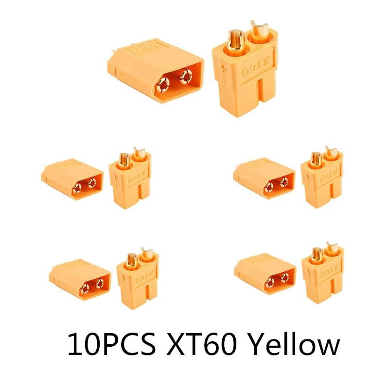 10/20 шт. XT60 черный/голубой/XT60+/XT30UPB/XT60-E/XT60-L штекерно-разъемы Вилки провод с силикатной гелевой обмоткой для Батарея Quadcopter Drone - Цвет: 10PCS XT60 Yellow