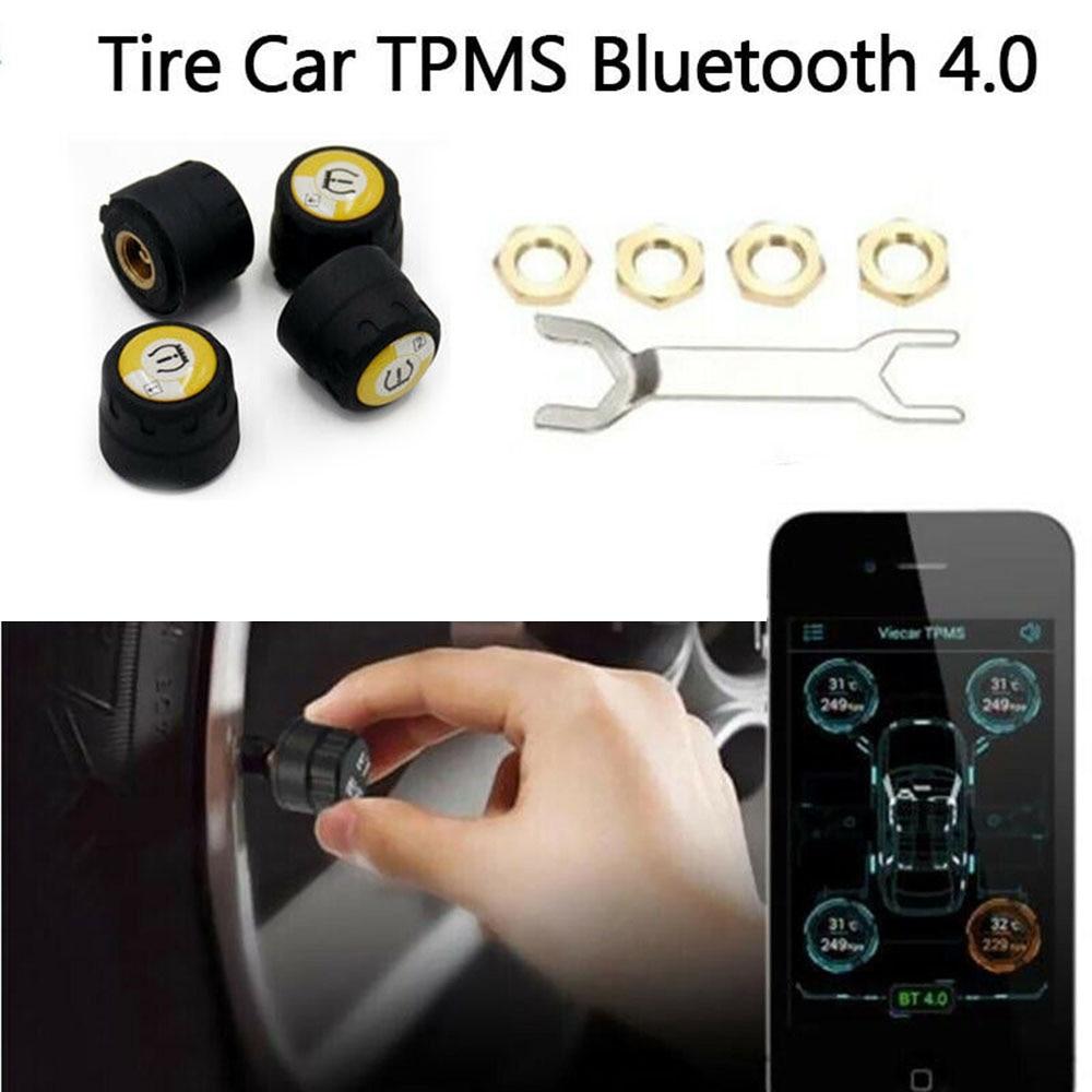 4Pcs Car TPMS Tire Pressure Monitor BT 4.0 Alarm Warning Sensors For Android IOS