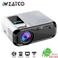 WZATCO E500 Mini proyector LED 1280x720 Android 9,0 WIFI portátil Beamer casa Cine Teatro Cable de sincronización de pantalla para iphone Ipad