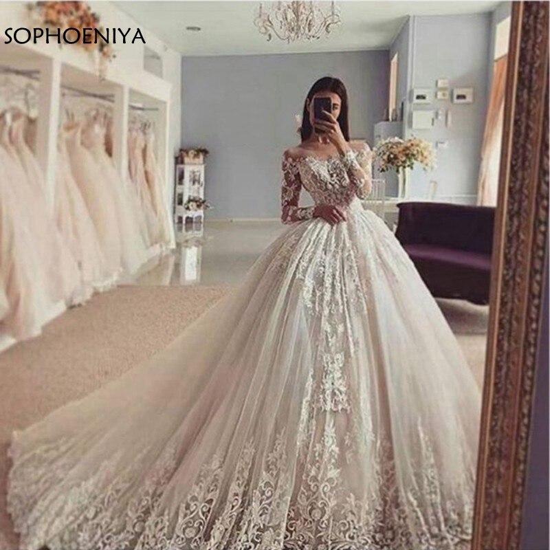 New Arrival Long Sleeve Wedding Dresses Ball Gown Wedding Dress 2020 Lace Appliques Wedding Gowns Vestido De Noiva