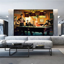 Arte pintura a óleo elvis presley, humphrey bogart. Cartaz de filme e pintura em tela de bilhar