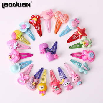 10PCS Mix Color Barrette Baby Hair Clip Cute Flower Solid Cartoon Handmade Resin Children Hairpin Girl Accessories