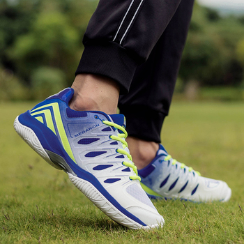 Męskie buty do badmintona niebieskie lekkie buty do tenisa antypoślizgowe trampki do badmintona piłka siatkowa do treningu buty luksusowe tenisowe tanie i dobre opinie Yoonycon CN (pochodzenie) Spring2019 Dobrze pasuje do rozmiaru wybierz swój normalny rozmiar Siateczka (przepuszczająca powietrze)