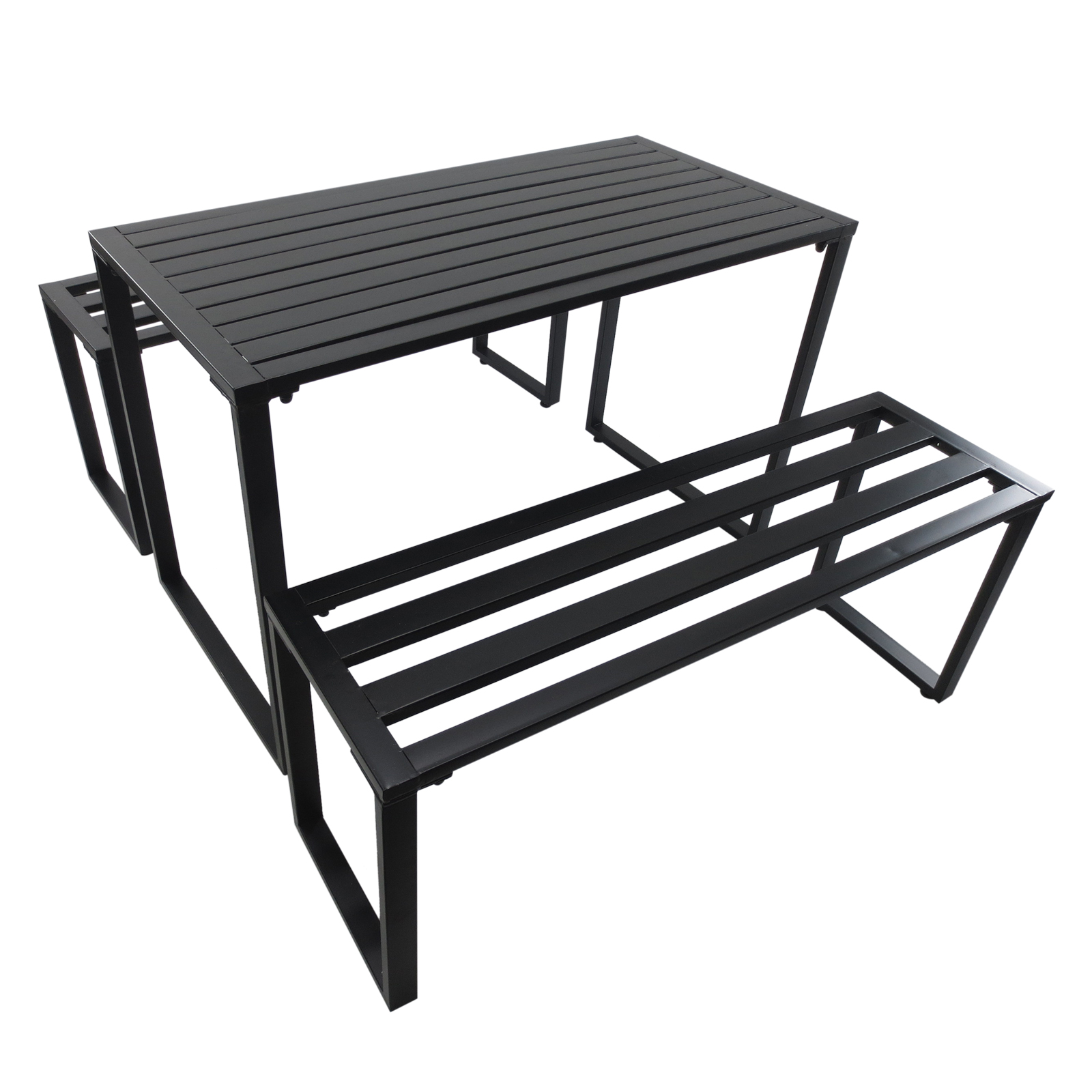 Outsunny Dining Set Picnic 3 Pieces 2 Benches 1 Coffee Table For 4 People Metal Black
