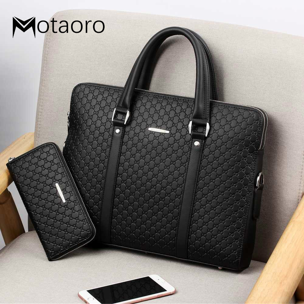 New Men Leather Business Briefcase Man Shoulder Bag Male Double Layers Laptop Handbags Men's Travel Bags Bolso Hombre Sac Homme