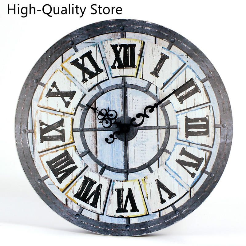Retro Study Clock Wall European Style Living Room Vintage Wall Watch Minimalist Bedroom Silent Creative With Roman Number Clock