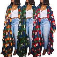 Venda quente das mulheres xadrez impressão chão-comprimento camisa vestido outono inverno senhora turn-down colarinho único-breasted streetwear vestidos