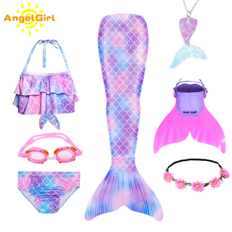 2020 Zomer Meisjes Mermaid Staart Met Flipper Swimable Kids Mermaid Kostuum Prinses Cosplay Party Jurk Bikini Strand Dragen mermaid tail zeemeerminstaart