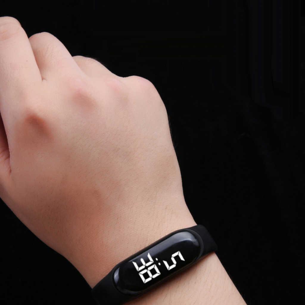 Çocuklar ve yetişkin SmartWatch LED İzle spor dijital dokunmatik ekran açık kayış bandı kol saatleri erkek kız moda akıllı saat