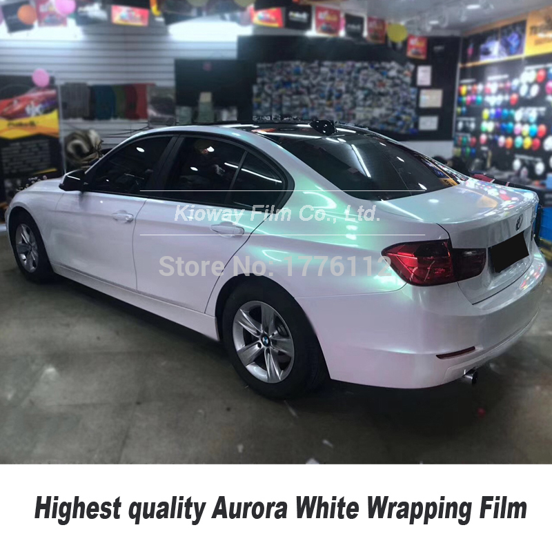 Highest Quality Glossy Aurora White Vinyl Wrap Foil  For High End Car With Bubble Free High-end Self Adhesive