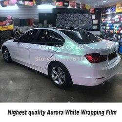 Hoogste Kwaliteit Glossy Aurora Wit Vinyl Wrap Folie Voor High End Auto Met Bubble Gratis High-End Zelfklevende
