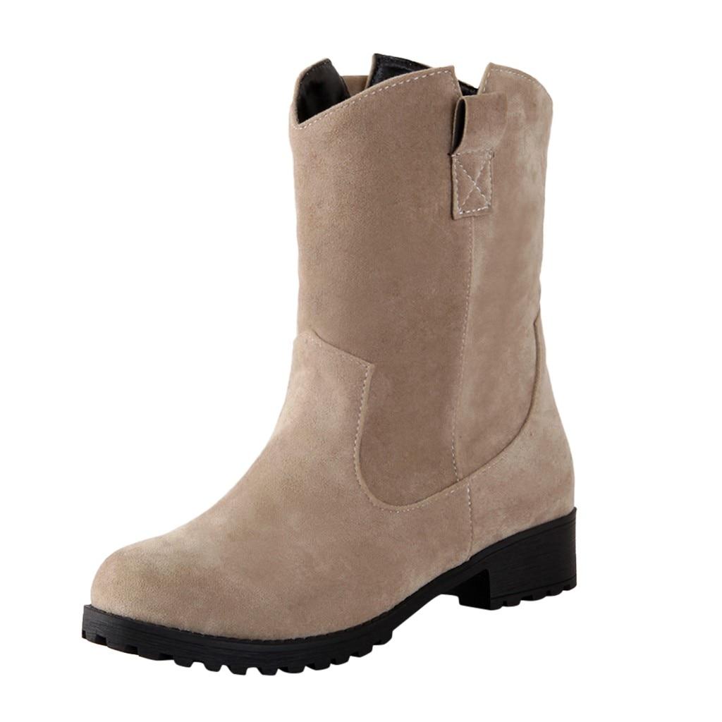 KANCOOLD/Женские Ботинки martin; ботинки Осень-зима; классические зимние ботильоны; зимняя замшевая теплая женская обувь из флока с мехом и плюшем; Размеры 35-43 - Цвет: BG