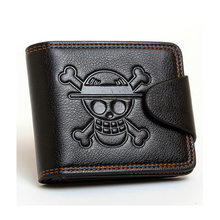 Black Cartoon Anime ONE PIECE Short Faux Leather Skull Wallet Cosplay Monkey D. Luffy Card Bag Christmas Birthday Purse Gift New(China)