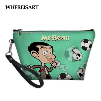 WHEREISART Cosmetic Bag Women Small Travel Makeup Great Zipper Make Up Mr. Bean Cartoon Printed Ladies Toiletry Kit Box