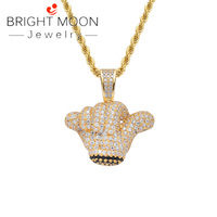 Bright Moon Hip Hop Small Hand Pendant Solid Zircon Pendant Chain Necklace Golden Copper Metal Choker Jewels Trendy Gift