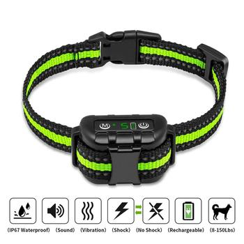 Anti bark dog collar Electric shock Vibration sound with LED for small large dogs no barking training collar dog accessories