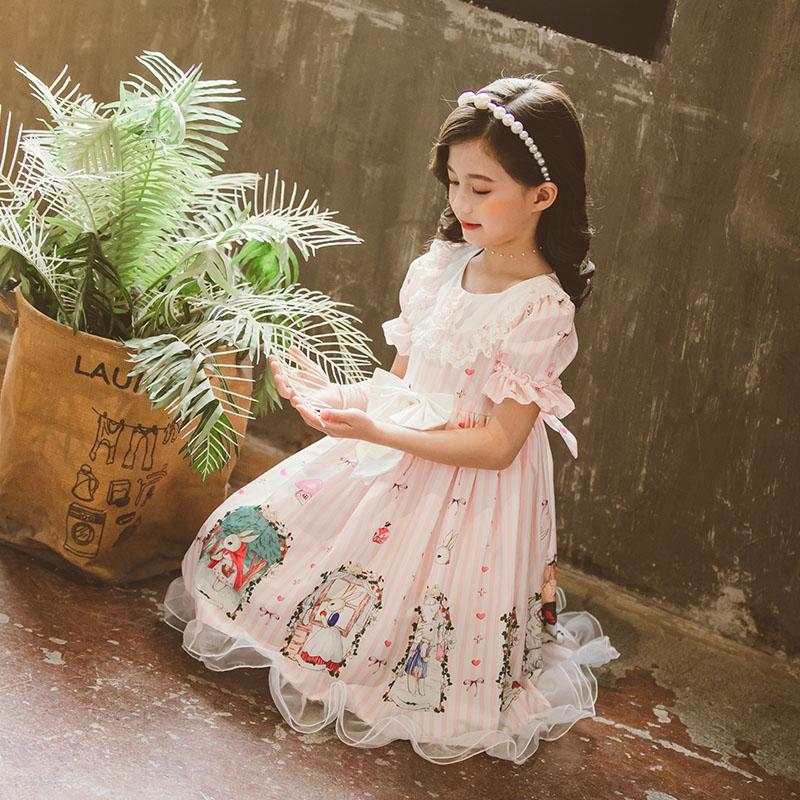 Pink sweet girl princess dress Lolita 2020 new  summer dress flower basket bunny cartoon vestido lolita dress