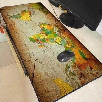 Mairuige Old World Map Large Gaming Mouse Pad Lockedge Mat Keyboard Desk Table Gamer Mousepad for Laptop Lol