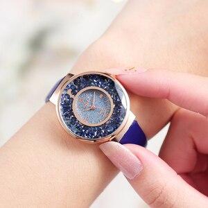 Image 2 - YOLAKO Women Leather Moving Diamond Watch Luxury Ladies Quartz Wrist Watches Clock Reloj Mujer Relogio Feminino