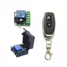 Módulo receptor por relé cc 12V 1CH, TRANSMISOR DE RF, 433Mhz, interruptor de Control remoto inalámbrico, interruptor de conmutación momentáneo de aprendizaje, código de bloqueo