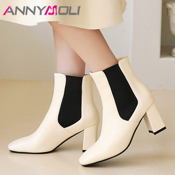 ANNYMOLI Chelsea Boots Woman High Heel Ankle Boots Square Toe Short Boots Chunky Heel Female Shoes Autumn Winter Beige Size 46 haraval handmade winter woman long boots luxury flock round toe soft heel shoes elegant casual warm retro buckle solid boots 289
