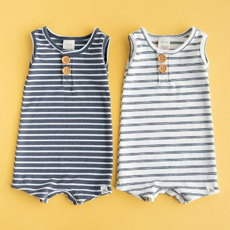 Pudcoco 2020 Summer Newborn Infant Baby Boy Girl Striped Clothes Sleeveless Rompers Summer Outfit Dropshipping
