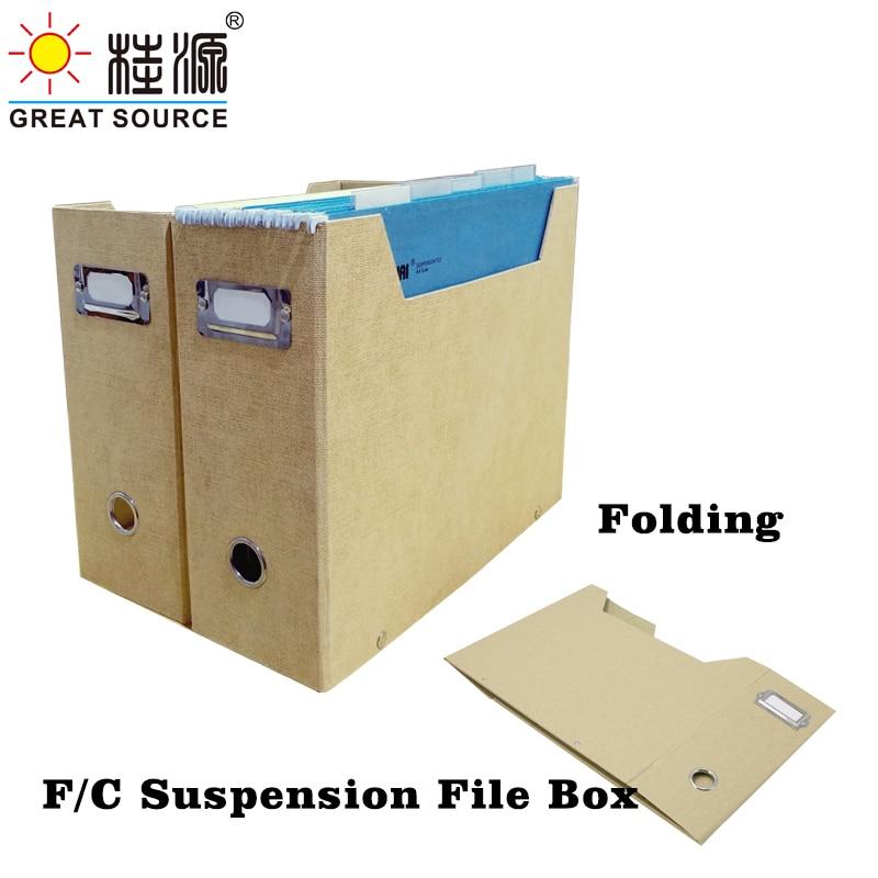 Foldaway Magazine Organizer F/C Suspension File Holder Office  News Paper Storage Box Beige Natural Paper (1PC)