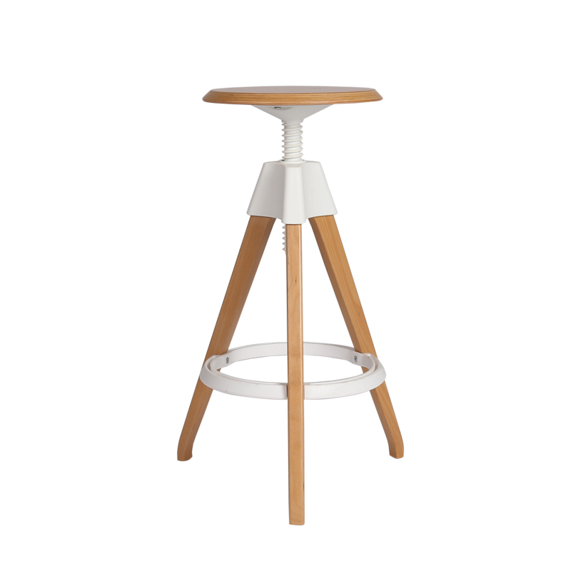 Modern Minimalist European-style Solid Wood Round Rotary Lift Creative Design High Stool Bar Chair Bar Chair Bar Stool