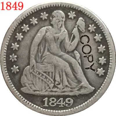 USA 1849 P ، O يجلس ليبرتي الدايم نسخة عملات